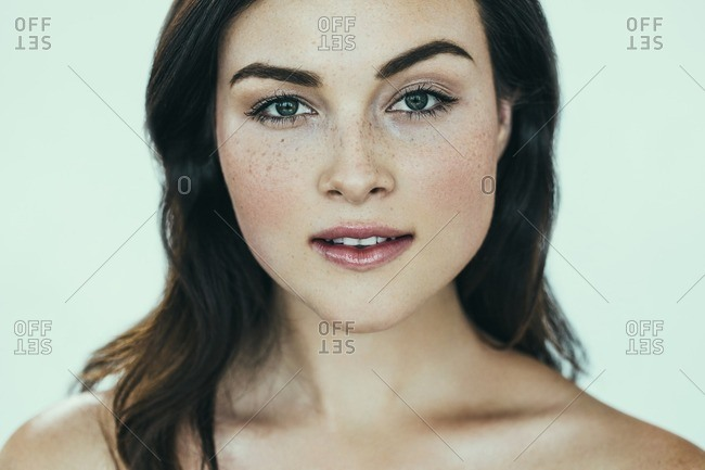 Female model with freckles
