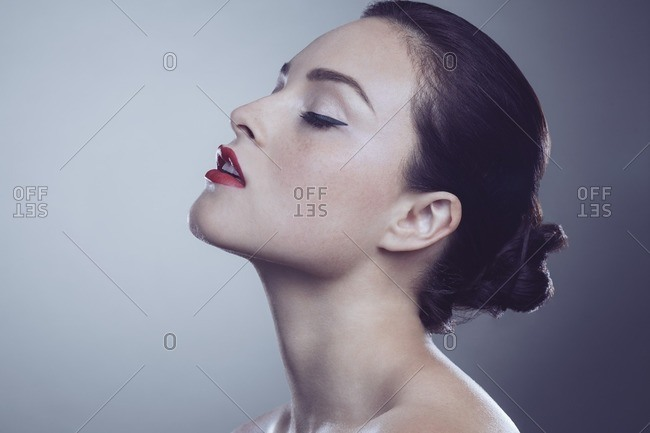 Female model with eyes closed
