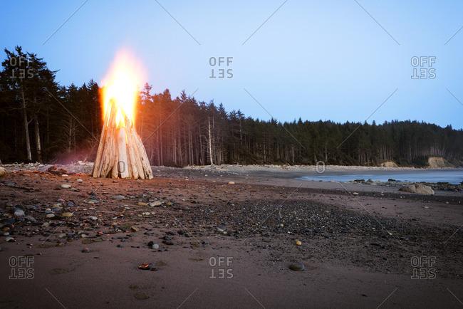 Bonfire at seashore against clear sky