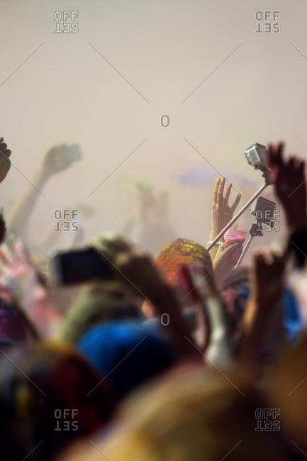 Crowd enjoying Holi festival