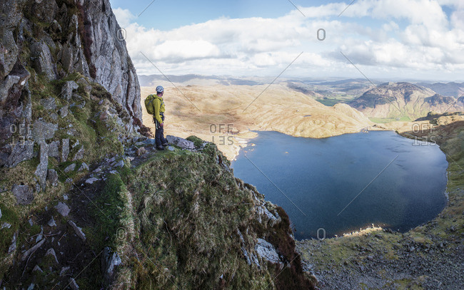 England- Cumbria- Lake District- Langdale- Pavey Ark and Stickle Tarn- Jack's Rake- climber
