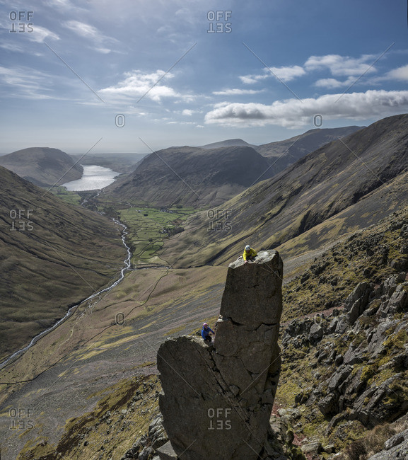 England- Cumbria- Lake District- Wasdale Valley- Wastwater- Great Gable- Napes Needle- climbers