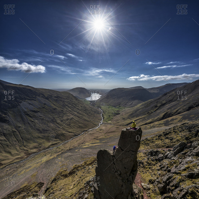 England- Cumbria- Lake District- Wasdale Valley- Great Gable- Napes Needle- climbers