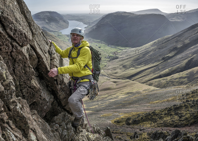 England- Cumbria- Lake District- Wasdale Valley- Napes Needle- climber
