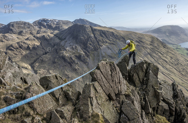 England- Cumbria- Lake District- Wasdale Valley- Great Gable- climber