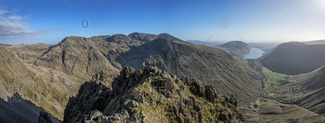 England- Cumbria- Lake District- Wasdale Valley- Great Gable- climbers