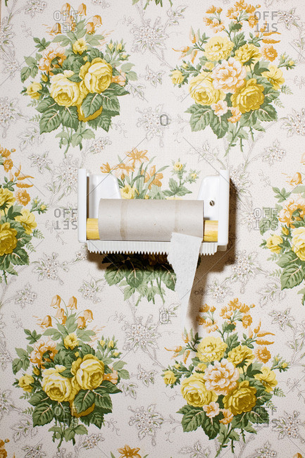Finished toilet paper on wall with design