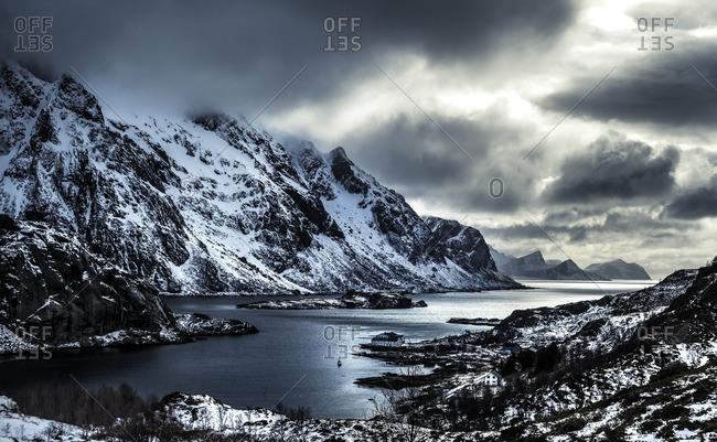 Arctic village inside a snowy mountainous cove