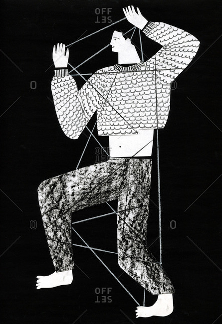 Black and white illustration of a man tangled in a web of string