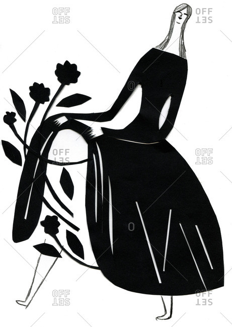 Black and white illustration of a woman with flowers on her skirt