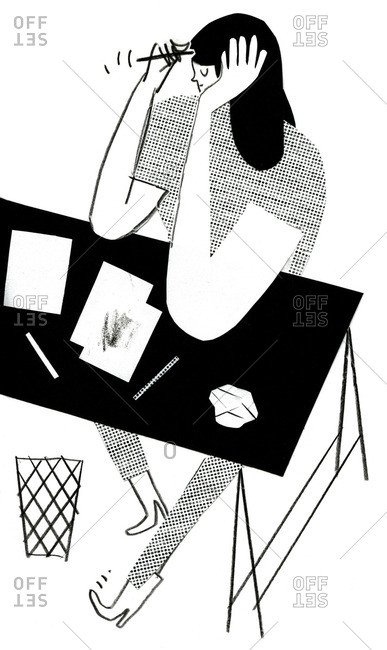Black and white illustration of a woman sitting at a desk brainstorming