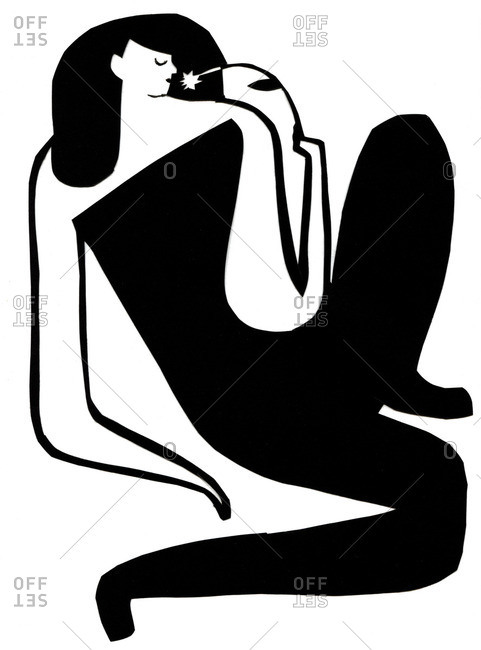Black and white illustration of a woman reclining with a flower