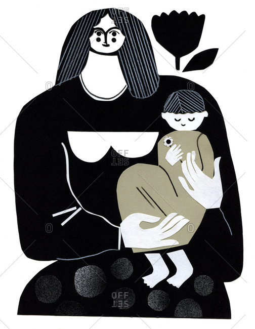 Black and white illustration of a woman holding a child