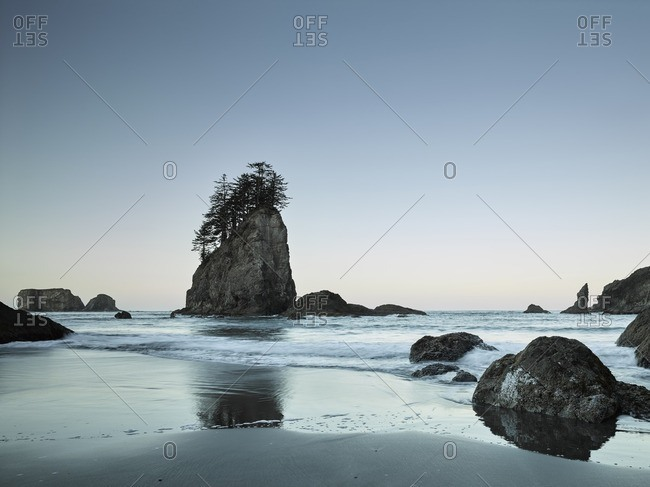 View of Beach , Rock Islands and Pacific Ocean in the early morning