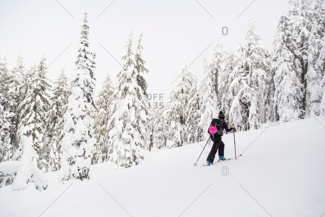 Young woman cross country skiing