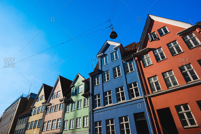 Traditional multi-colored townhouses,