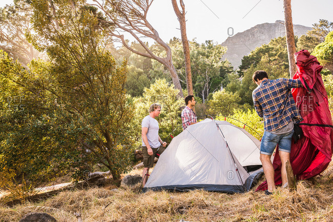 Three men putting up dome tent in forest