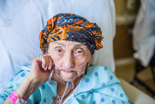 Patient on hospital bed, close up