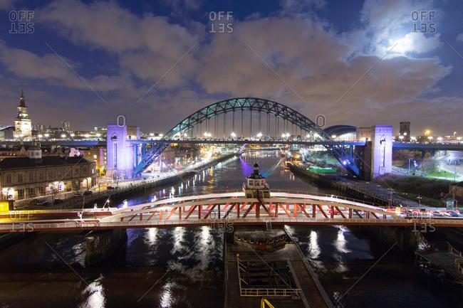 Swing bridge and Tyne bridge at night