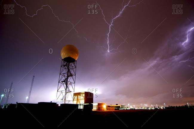 Lightning near a weather radar dome