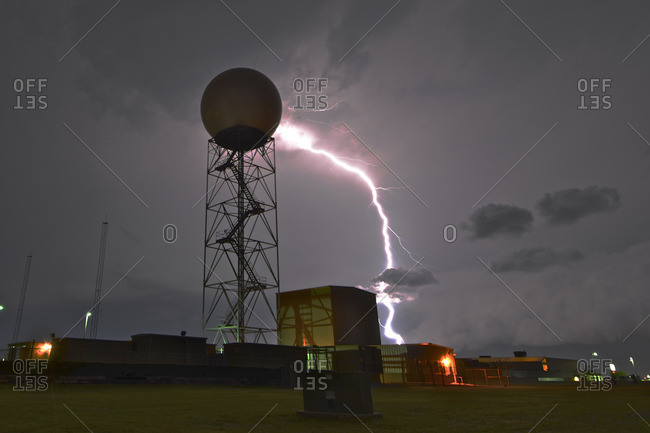 Lightning by a weather radar dome