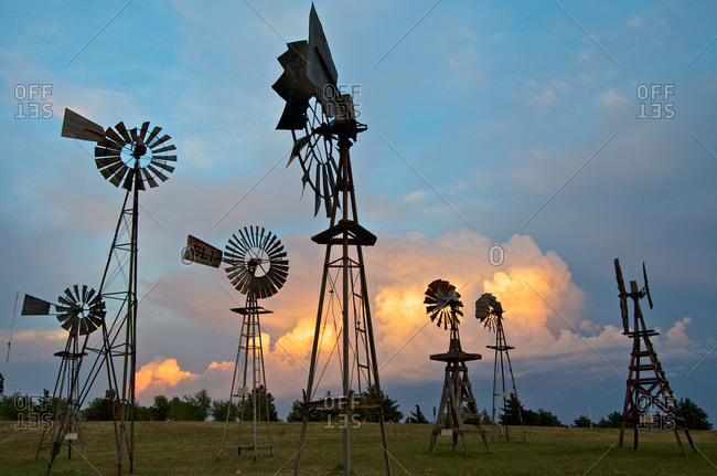 Shattuck, Oklahoma, USA - June 3, 2012: Storms behind a windmill park