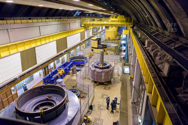 Overview of generator hall in hydroelectric power station