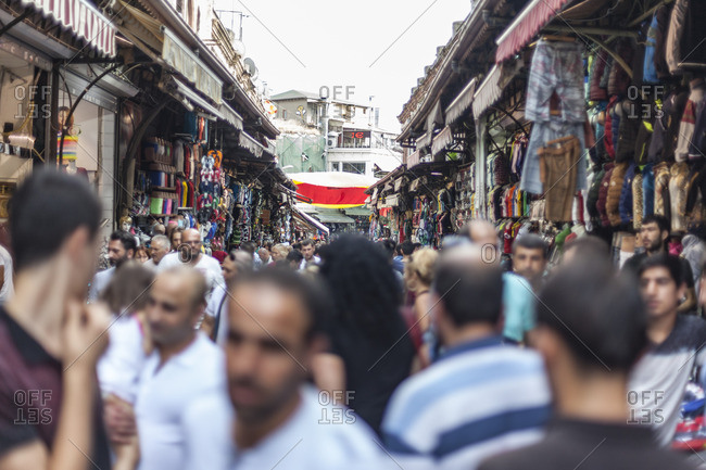 Istanbul, Turkey - August 21, 2015: Shoppers in the Grand Bazaar in search of deals in Istanbul, Turkey