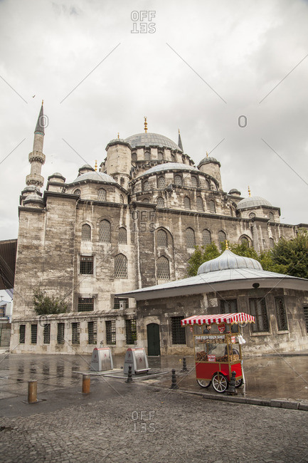 Istanbul, Turkey - August 22, 2015: Yeni Cami, a large operating mosque in Istanbul, Turkey