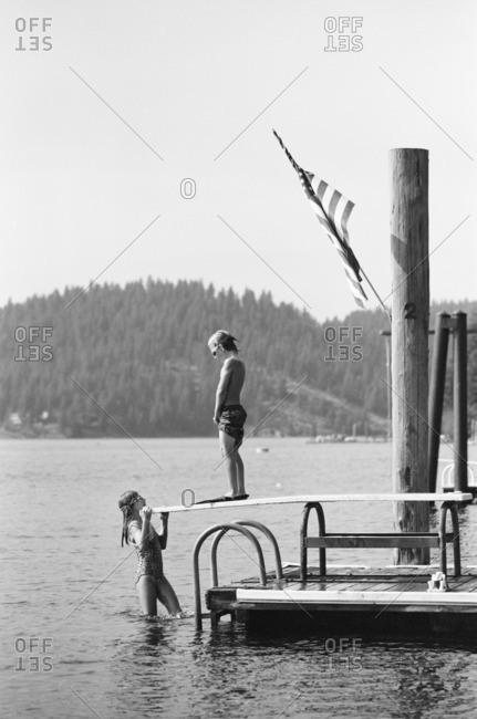 Kids playing in a lake