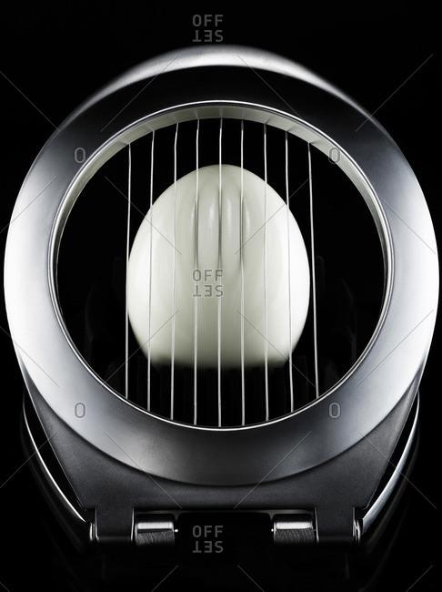 Hard boiled egg in slicer