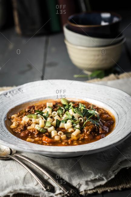 Pasta fagioli soup in bowl