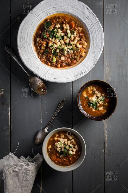 Pasta fagioli soup in various bowls