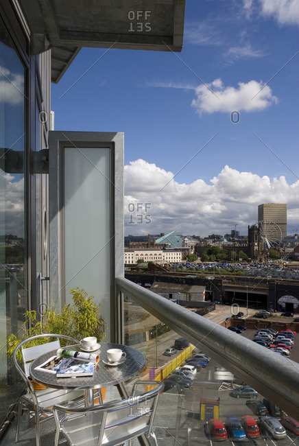 Apartment balcony overlooking Manchester's city centre