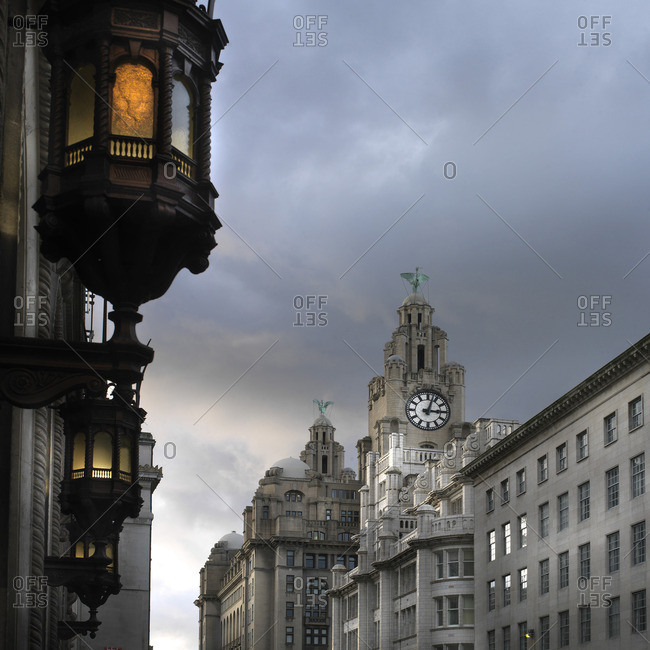 View of Royal Liver Building from India Building on Water Street, Liverpool, Merseyside, England