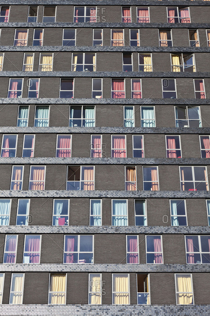 Abstract exterior facade of student residential high-rise, De Uithof campus, Utrecht University, Netherlands