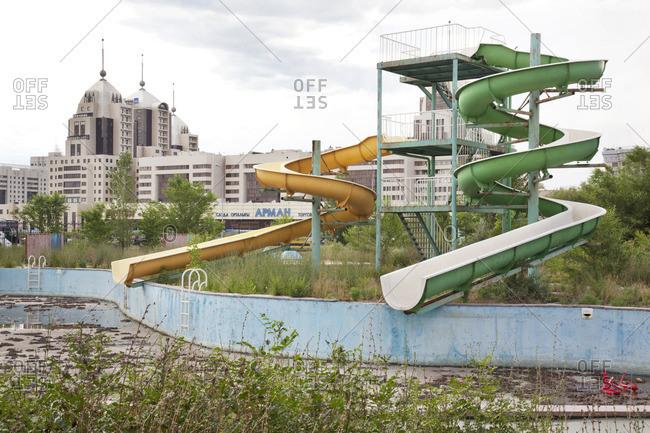 Abandoned pool in an Astana amusement park, Astana, Kazakhstan