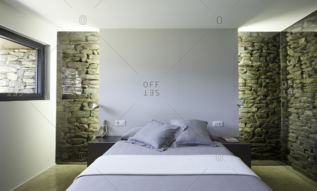 Bedroom in old stone farm