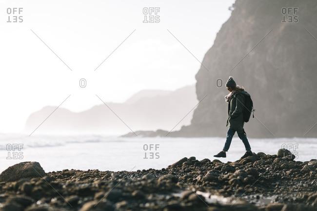 6/16/16: Woman walking across rocks