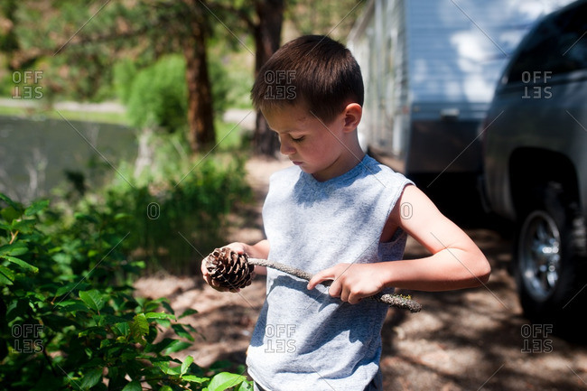 Boy with stick and pinecone