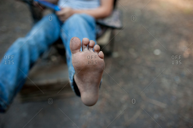 A boy's bare foot sole