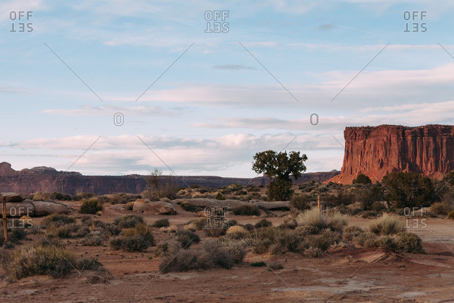 Field by red rock formations