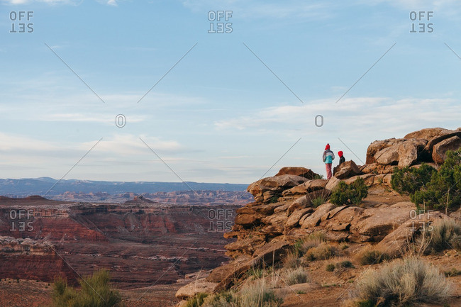 Kids on rural Utah overlook