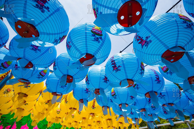 GYEONGJU, KOREA - April 26, 2016: Traditional paper lanterns, South Korea
