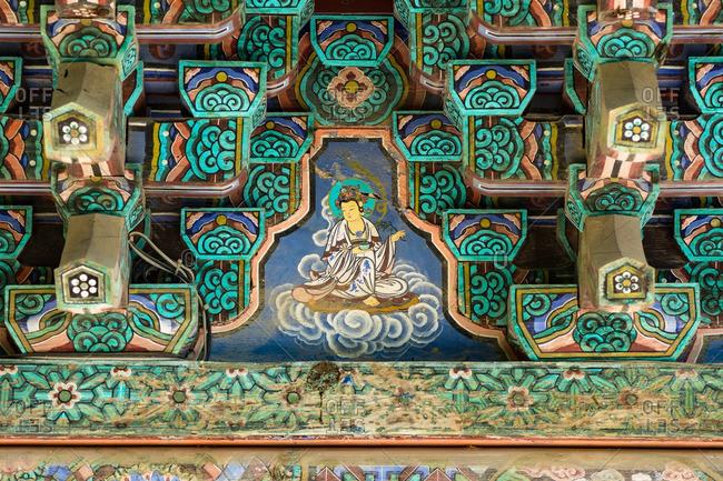 GYEONGJU, KOREA - April 26, 2016: Paintings in South Korean temple
