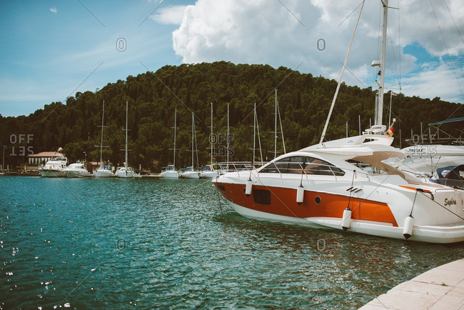 Sibenik, Croatia - May 14, 2016: Pleasure boats at marina in Skradin, Croatia