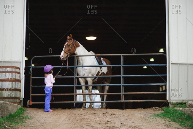 Little girl holding the reins of a horse