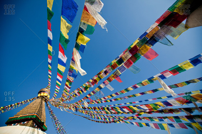 Prayer Flags at Boudhanath stupa in Kathmandu, Nepal