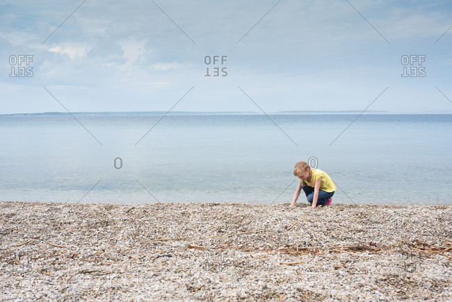 Girl on Lake Huron beach