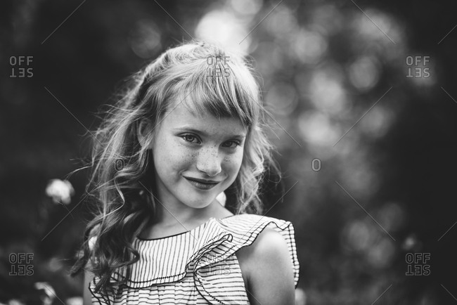 Girl in black and white portrait